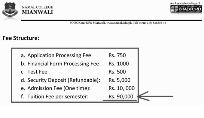namal college fee structure
