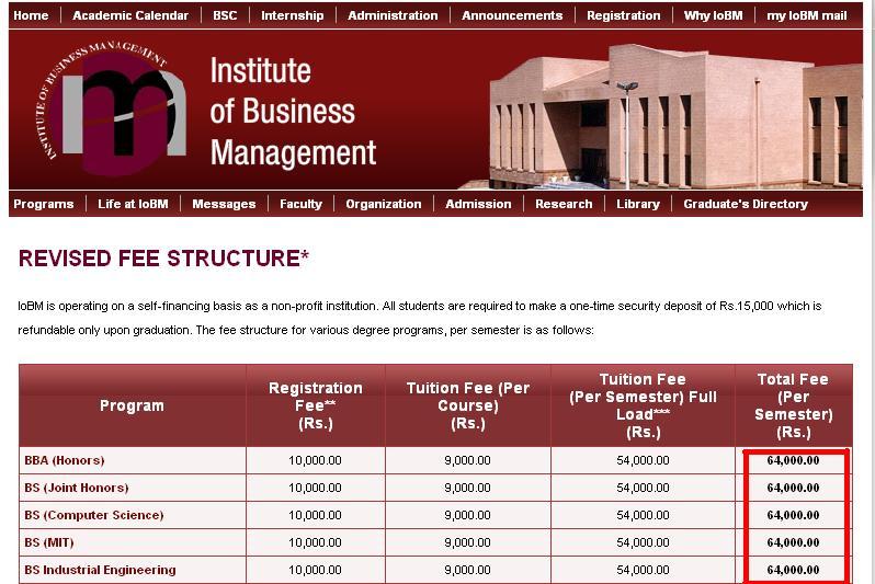namal university fee structure